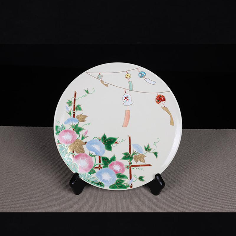 日本陶瓷 日本清水烧牵牛花图圆盘 绘制精细,发色艳丽,釉水肥润,细腻